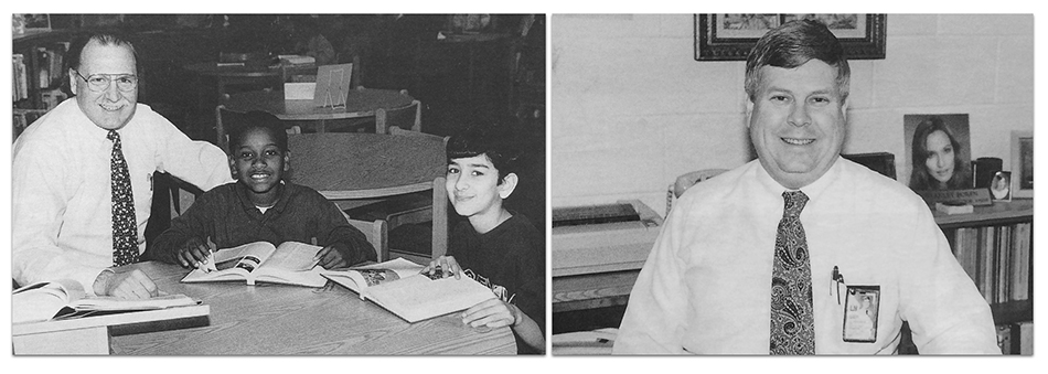 Two black and white photographs. On the left is a picture of Saratoga's first principal, Garry McClincey seated at a table with two students. On the right is a picture of Saratoga Center's first principal, J. Stan Boren, seated in his office.