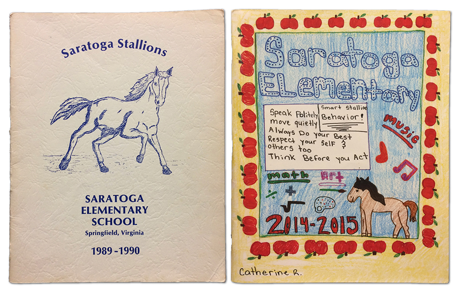 Photograph of the covers of Saratoga Elementary School first yearbook from 1989-1990 and twenty-fifth anniversary yearbook in 2014-2015. The first yearbook has a plain white cover with a sketch of a stallion, the school mascot, inked in blue, with blue lettering. The anniversary yearbook is student-drawn, with a yellow cover that has a border of red apples, and a blue center with the drawing of a horse and a quote about Smart Stallion Behavior. It reads, speak politely, move quietly, always do your best, respect yourself and others, too, and think before you act.